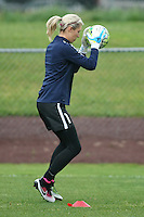 Piscataway, NJ, May 13, 2016. Recently signed goalkeeper, Erin Nayler (1), of Sky Blue FC catches the ball during warmups.  Sky Blue FC defeated the Boston Breakers, 1-0, in a National Women's Soccer League (NWSL) match at Yurcak Field.
