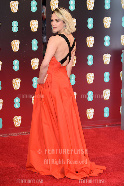 Jessica Brown Findlay at the 2017 EE British Academy Film Awards (BAFTA) held at The Royal Albert Hall, London, UK. <br /> 12 February  2017<br /> Picture: Steve Vas/Featureflash/SilverHub 0208 004 5359 sales@silverhubmedia.com