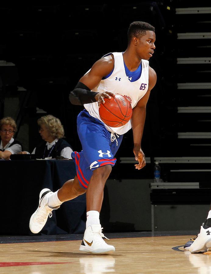 Semilore Ojeleye participates in a basketball camp in Charlottesville, Va. (Photo/Andrew Shurtleff)