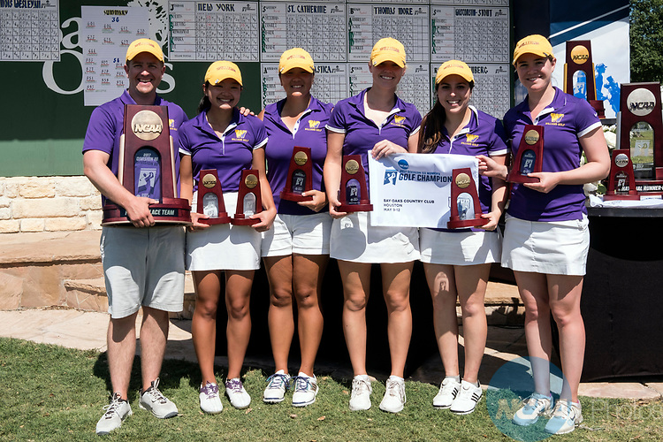 HOUSTON, TX - MAY 12: Members of the Williams College team placed fourth during the Division III Women's Golf Championship held at Bay Oaks Country Club on May 12, 2017 in Houston, Texas. (Photo by Rudy Gonzalez/NCAA Photos/NCAA Photos via Getty Images)