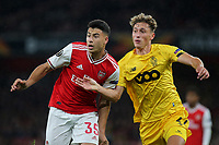 Arsenal's Gabriel Martinelli and Mergim Vojvoda of Standard Liege during Arsenal vs Standard Liege, UEFA Europa League Football at the Emirates Stadium on 3rd October 2019