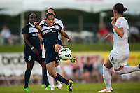 Sky Blue FC forward Monica Ocampo (8) shoots and scores. Sky Blue FC defeated the Washington Spirit 1-0 during a National Women's Soccer League (NWSL) match at Yurcak Field in Piscataway, NJ, on July 6, 2013.