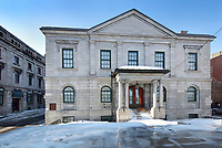Old Customs House, designed in 1836 by John Ostell in Palladian style, in Montreal, Quebec, Canada. It now houses the gift shop of the  Pointe-a-Calliere Museum, a museum of history and archaeology. It is listed as a National Historic Site of Canada. Picture by Manuel Cohen