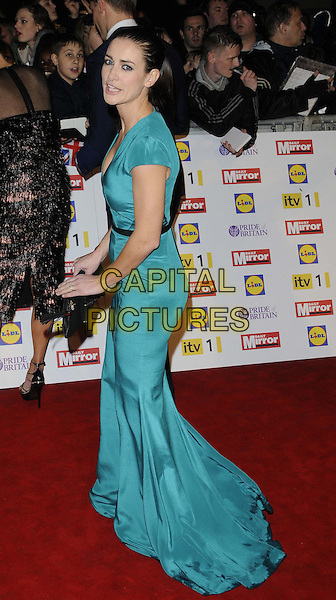 Kirsty Gallacher.The Pride of Britain Awards 2012, Grosvenor House Hotel, Park Lane, London, England..October 29th, 2012.full length black belt green dress teal side clutch bag.CAP/CAN.©Can Nguyen/Capital Pictures.