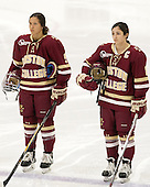 Tori Sullivan (BC - 9), Dana Trivigno (BC - 8) - The visiting Boston College Eagles defeated the Harvard University Crimson 2-0 on Tuesday, January 19, 2016, at Bright-Landry Hockey Center in Boston, Massachusetts.