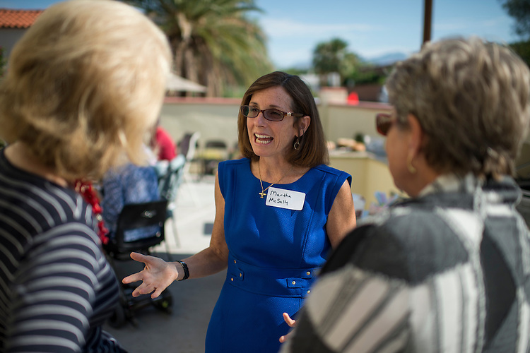 UNITED STATES - AUGUST 9: Martha McSally, Republican candidate running against Rep. Ron Barber in Arizona's 2nd Congressional district, speaks with supporters at a breakfast in Tucson, Ariz., on Saturday, Aug. 9, 2014. (Photo By Bill Clark/CQ Roll Call)