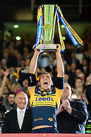 PICTURE BY ALEX BROADWAY /SWPIX.COM - Rugby League - Super League Grand Final 2012 - Warrington Wolves v Leeds Rhinos - Old Trafford, Manchester, England - 06/10/12 - Kevin Sinfield of Leeds Rhinos lifts the Super League Trophy.