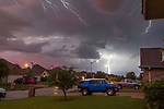 Lighting fills the sky during a spring thunderstorm in College Station, Texas.