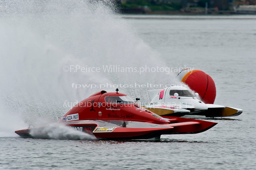 "13-14 June, 2009, APBA Inboards, Walled Lake, Novi, MI. USA.Brandon Kennedy, T-1 ""Shameless Say What?"", 1 Litre Stock hydroplane and Alexis Weber, T-10 ""Flirtin' With Disaster"", 1 Litre Stock hydroplane.©F. Peirce Williams 2009 USA.F.Peirce Williams.photography.ref: RAW (.NEF) File Available"