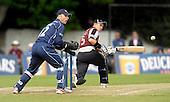 Scottish Saltires V Somerset Sabres, Friends Provident Trophy, Grange CC, Edinburgh - Sabres Justin Langer sweeps the ball past Saltires keeper Simon Smith  on his way to 39 runs from 73 balls - Picture by Donald MacLeod - 20 May 2009