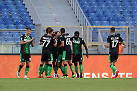 Football, Serie A: S.S. Lazio - Sassuolo, Olympic stadium, Rome, July 11, 2020. <br /> Sassuolo's Giacomo Raspadori (c) celebrates after scoring with his teammates during the Italian Serie A football match between S.S. Lazio and Sassuolo at Rome's Olympic stadium, Rome, on July 11, 2020. <br /> UPDATE IMAGES PRESS/Isabella Bonotto
