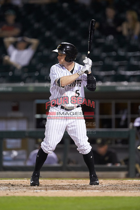 Alex Presley (5) of the Charlotte Knights at bat against the Indianapolis Indians at BB&T BallPark on May 26, 2018 in Charlotte, North Carolina. The Indians defeated the Knights 6-2.  (Brian Westerholt/Four Seam Images)