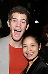"Alistair Brammer and  Eva Noblezada during The Opening Night Actors' Equity Gypsy Robe Ceremony honoring Catherine Ricafort for the New Broadway Production of  ""Miss Saigon""  at the Broadway Theatre on March 23, 2017 in New York City"