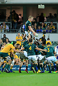 9th September 2017, nib Stadium, Perth, Australia; Supersport Rugby Championship, Australia versus South Africa; Pieter-Steph du Toit of the South African Springboks passes the ball after winning the line out during the second half