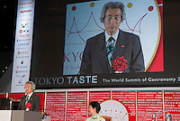 Former Japanese Prime Minister Junichiro Koizumi addresses gives a speech at the opening ceremony of Tokyo Taste, The World Summit of Gastronomy 2009. 9 February 2009,Tokyo, Japan.Many of the world's top chefs are assembled for the sold-out 3 day event in the center of Tokyo.