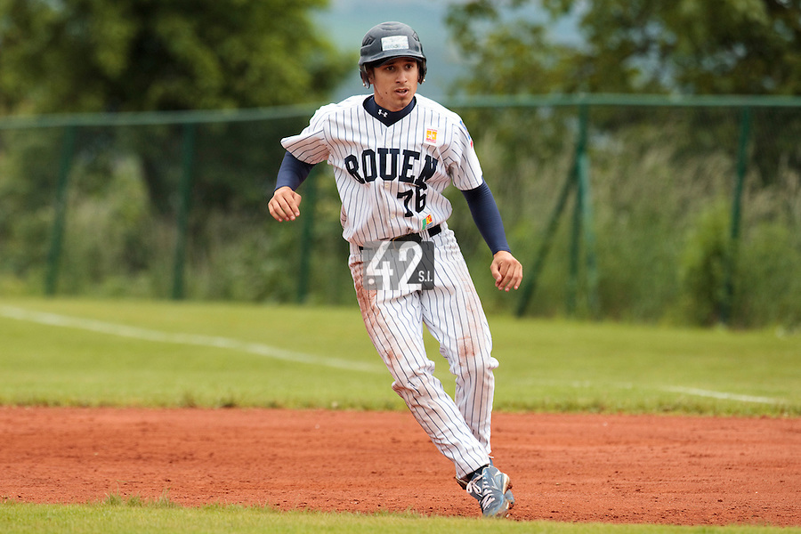 03 June 2010: Mathieu Brau of Rouen is seen during the 2010 Baseball European Cup match won  8-4 by C.B. Sant Boi over the Rouen Huskies, at the Kravi Hora ballpark, in Brno, Czech Republic.