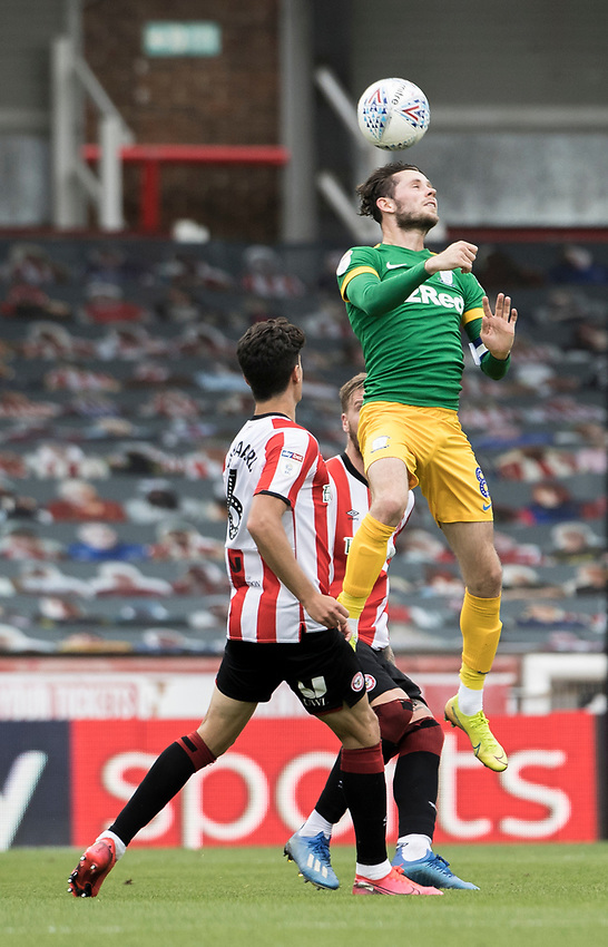 Preston North End's Alan Browne wins the ball in the air<br /> <br /> Photographer Andrew Kearns/CameraSport<br /> <br /> The EFL Sky Bet Championship - Brentford v Preston North End - Wednesday 15th July 2020 - Griffin Park - Brentford <br /> <br /> World Copyright © 2020 CameraSport. All rights reserved. 43 Linden Ave. Countesthorpe. Leicester. England. LE8 5PG - Tel: +44 (0) 116 277 4147 - admin@camerasport.com - www.camerasport.com
