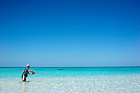 Fly fishing on an unnamed island off Highbourne Cay, Exuma Islands, Bahamas