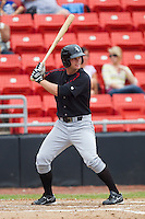 Jake Oester #22 of the Kannapolis Intimidators at bat against the Hickory Crawdads at  L.P. Frans Stadium August 1, 2010, in Hickory, North Carolina.  Photo by Brian Westerholt / Four Seam Images