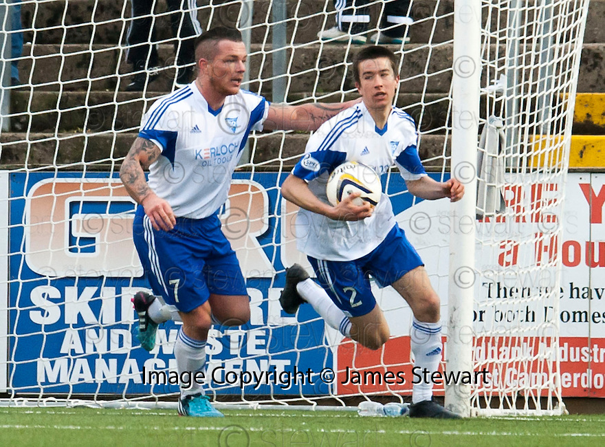 Peterhead's Cameron Kerr (2) celebrates after he scores their goal.