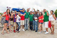 Maury Ruiz and friends of Michoacan, Mexico at at tailgate party before an international friendly, Wednesday, April 15, 2015 in San Antonio, Tex. (Mo Khursheed/TFV Media via AP Images)