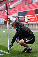 8th July 2020; Ashton Gate Stadium, Bristol, England; English Football League Championship Football, Bristol City versus Hull City; corner flags are cleaned at half time