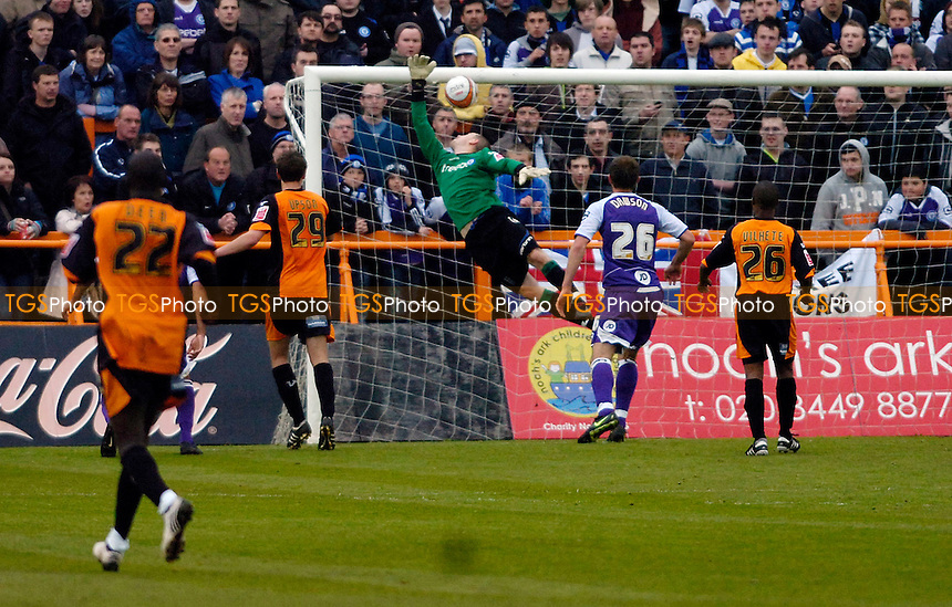Rochdale goalkeeper Frank Fielding saves a Barnet attempt late in the first half - Barnet vs Rochdale - Coca Cola League Two Football at Underhill - 24/04/10 - MANDATORY CREDIT: Anne-Marie Sanderson/TGSPHOTO - Self billing applies where appropriate - 0845 094 6026 - contact@tgsphoto.co.uk - NO UNPAID USE..
