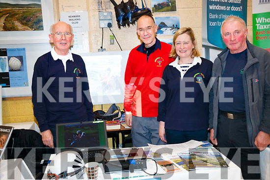 Peter O'Sullivan, Ian Flude, Mary Murphy and Denis O'Sullivan of Kenmare Walking Club at the Bank Of Ireland Enterprise night in Kenmare.