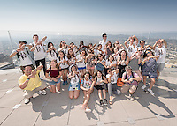 Incoming Occidental College students participate in Oxy Engage with the group LA Icons and visit the OUE Skyspace LA and try the glass slide 1,000 feet up, located in the US Bank Tower in downtown Los Angeles on Aug. 24, 2016.<br />