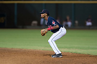 AZL Indians 2 second baseman Gionti Turner (1) during an Arizona League game against the AZL Dodgers at Goodyear Ballpark on July 12, 2018 in Goodyear, Arizona. The AZL Indians 2 defeated the AZL Dodgers 2-1. (Zachary Lucy/Four Seam Images)