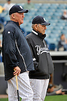 Feb 24, 2010; Tampa, FL, USA; New York Yankees  Hall of Famer Yogi Berra with former Yankees 3rd baseman Craig Nettles during  team workout at George M. Steinbrenner Field. Mandatory Credit: Tomasso De Rosa/Four Seam Images
