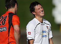 f64c10ccc48 Auckland goalscorer Simon Child jokes with Richard Petherick after the  match. Auckland v Midlands men s