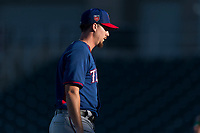 AZL Rangers starting pitcher Chi Chi Gonzalez (21) walks off the field between innings of a rehab start in an Arizona League playoff game against the AZL Indians 1 at Goodyear Ballpark on August 28, 2018 in Goodyear, Arizona. The AZL Rangers defeated the AZL Indians 1 7-4. (Zachary Lucy/Four Seam Images)