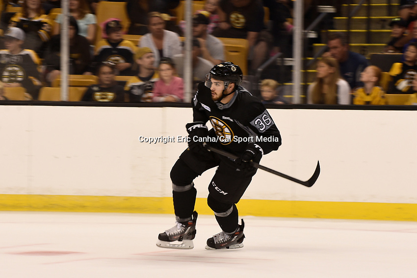 September 20, 2015 - Boston, Massachusetts, U.S. - Boston Bruins center Zac Rinaldo (36) skates during the Boston Bruins training camp held at TD Garden in Boston Massachusetts. Eric Canha/CSM