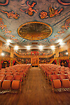 Amargosa Hotel and Opera House at Death Valley Jct...Inside the theater with chairs and murals
