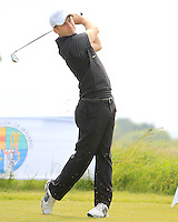 Ryan Symington (Lisburn) on the 1st tee during Round 1 of the Irish Amateur Close Championship at Seapoint Golf Club on Saturday 7th June 2014.<br /> Picture:  Thos Caffrey / www.golffile.ie
