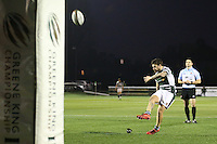 Aaron Penberthy of Ealing Trailfinders converts a penalty try to put his team 13-11 ahead during the Greene King IPA Championship match between Ealing Trailfinders and London Welsh RFC at Castle Bar , West Ealing , England  on 26 November 2016. Photo by David Horn / PRiME Media Images