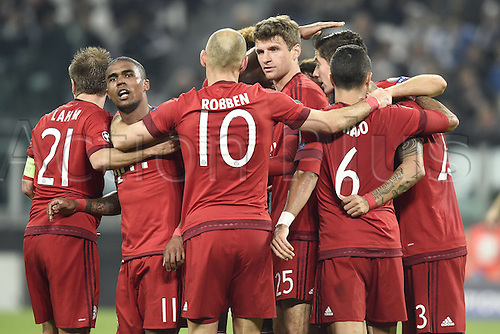 23.02.2016. Turin, Italy. UEFA Champions League football. Juventus versus Bayern Munich. <br /> Thomas Mueller  celebrates as he scores the goal for 0-1