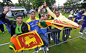 Cricket - ODI Summer Tri-Series - Scotland V Ireland V Sri Lanka at Grange CC - Edinburgh - heavy overnight rain and constant drizzle has delayed the start of the first match of the series between Ireland and Sri Lanka - Sri Lanka fans cheer - Picture by Donald MacLeod - 11.07.11 - 07702 319 738 - www.donald-macleod.com