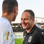 10.08.2019, Donaustadion, Ulm, GER, DFB Pokal, SSV Ulm 1846 Fussball vs 1. FC Heidenheim, <br /> DFL REGULATIONS PROHIBIT ANY USE OF PHOTOGRAPHS AS IMAGE SEQUENCES AND/OR QUASI-VIDEO, <br /> im Bild nach Spielende, Florian Krebs (Ulm, #4), Holger Bachthaler (Ulm) hat sein Lachen nicht verloren<br /> <br /> Foto © nordphoto / Hafner