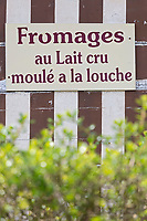France, Calvados (14), Pays d' Auge, Beuvron-en-Auge, labellisé Les Plus Beaux Villages de France,   Enseigne d'une fromagerie  // France, Calvados, Pays d'Auge, Beuvron en Auge, labelled Les Plus Beaux Villages de France (The Most Beautiful Villages of France),