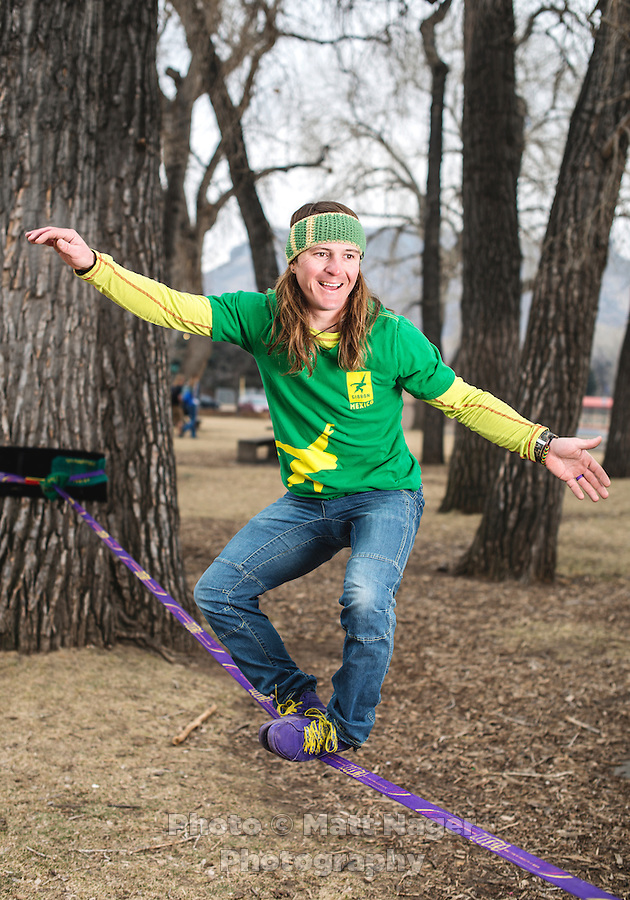 Professional slack liner Mickey Wilson on his slack line in Golden, Colorado, Wednesday February 1, 2017. Wilson climbed a ski lift and crawled along the wire connecting chair lifts to save his friend how had hit his head and passed out on ski chair at the Arapahoe Basin Ski Mountain in Colorado.<br /> <br /> Photo by Matt Nager