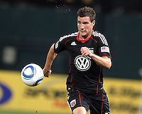 Chris Pontius #13 of D.C. United runs onto a loose ball during an MLS match against Seattle Sounders FC at RFK Stadium on July 15 2010, in Washington DC.Seattle won 1-0.