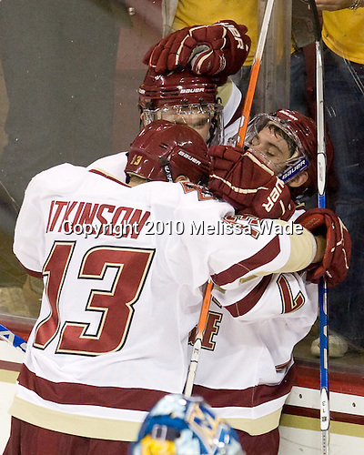 Cam Atkinson (BC - 13), Paul Carey (BC - 22), Brian Gibbons (BC - 17) - The Boston College Eagles defeated the visiting Merrimack College Warriors 3-2 on Friday, October 29, 2010, at Conte Forum in Chestnut Hill, Massachusetts.