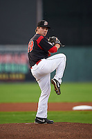 Batavia Muckdogs pitcher Dillon Peters (49) delivers a pitch during a game against the Williamsport Crosscutters on August 29, 2015 at Dwyer Stadium in Batavia, New York.  Williamsport defeated Batavia 7-3.  (Mike Janes/Four Seam Images)