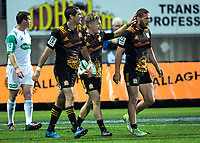 Stephen Donald, Damien McKenzie and Tawera Kerr-Barlow walk back after Donald's second try during the Super Rugby match between the Chiefs and Reds at Yarrow Stadium in New Plymouth, New Zealand on Saturday, 6 May 2017. Photo: Dave Lintott / lintottphoto.co.nz
