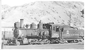 3/4 fireman's-side view of D&amp;RGW #318 at Salida.<br /> D&amp;RGW  Salida, CO  Taken by High, H. E. - 1927