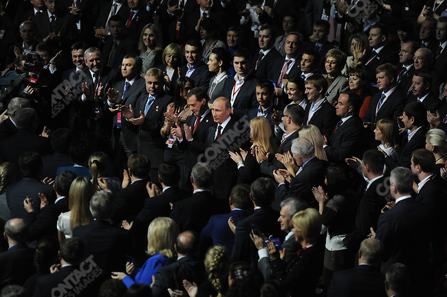 Vladimir Putin, the Russian Prime Minister, was applauded by delegates at the United Russia Congress in Moscow where his candidature for the upcoming presidential elections in March was approved by the congress. Moscow, Russia, November 27, 2011