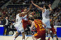 Real Madrid´s Marcus Slaughter and Sergio Llull and Galatasaray´s Arslan and Pocius during 2014-15 Euroleague Basketball match between Real Madrid and Galatasaray at Palacio de los Deportes stadium in Madrid, Spain. January 08, 2015. (ALTERPHOTOS/Luis Fernandez) /NortePhoto /NortePhoto.com