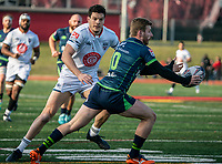 WASHINGTON, DC - FEBRUARY 16: Ciaran Hearn #12 of Old Glory DC moves up on Scott Dean #10 of the Seattle Seawolves during a game between Seattle Seawolves and Old Glory DC at Cardinal Stadium on February 16, 2020 in Washington, DC.
